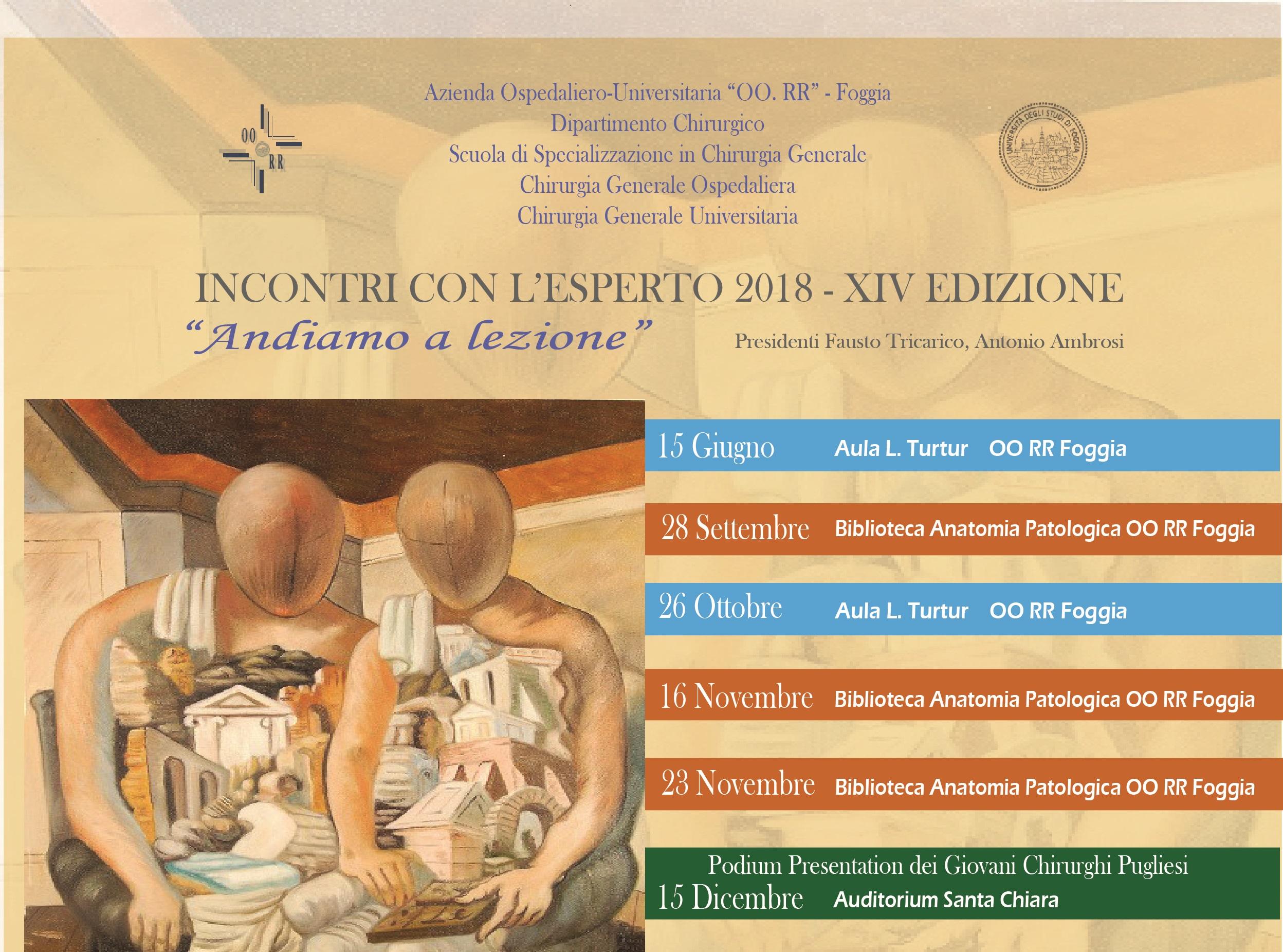 INCONTRI CON L'ESPERTO 2018 - XIV EDIZIONE