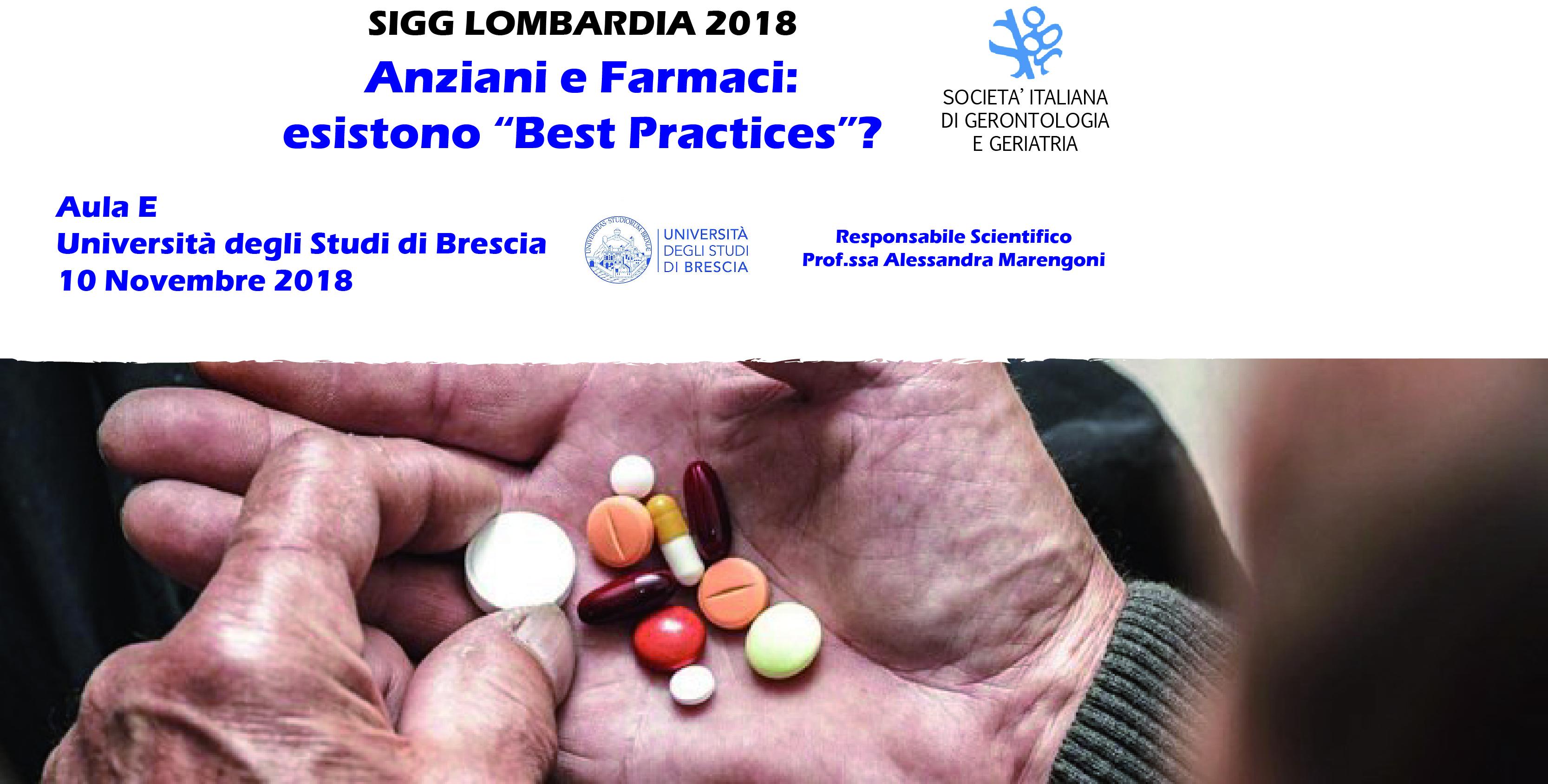 """SIGG LOMBARDIA 2018 - ANZIANI E FARMACI: ESISTONO """"BEST PRACTICES""""?"""