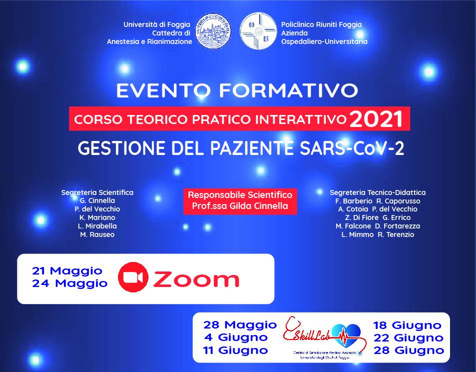 FAD- EVENTO FORMATIVO- CORSO TEORICO PRATICO INTERATTIVO 2021 GESTIONE DEL PAZIENTE SARS-COV-2